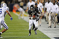 1 October 2011:  FIU wide receiver T.Y. Hilton (4) takes a reception for extra yardage in the fourth quarter as the Duke University Blue Devils defeated the FIU Golden Panthers, 31-27, at FIU Stadium in Miami, Florida.