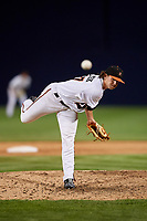 Frederick Keys relief pitcher Steve Klimek (27) delivers a pitch during the second game of a doubleheader against the Lynchburg Hillcats on June 12, 2018 at Nymeo Field at Harry Grove Stadium in Frederick, Maryland.  Frederick defeated Lynchburg 8-1.  (Mike Janes/Four Seam Images)
