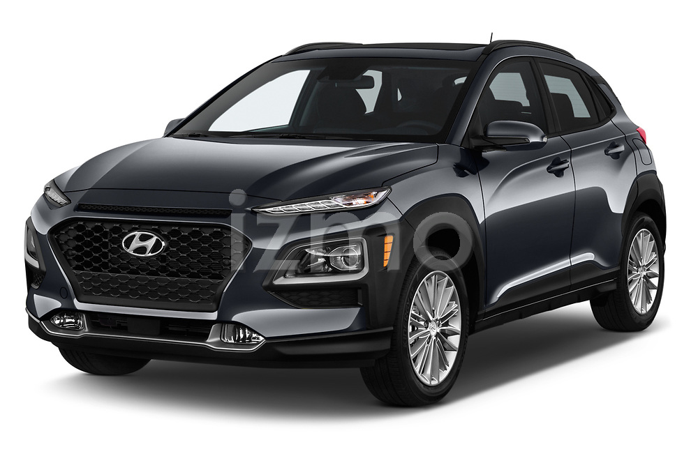 2019 Hyundai Kona SEL AUTO 5 Door SUV angular front stock photos of front three quarter view