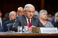 "United States Attorney General Jeff Sessions gives testimony before the US Senate Select Committee on Intelligence to  ""examine certain intelligence matters relating to the 2016 United States election"" on Capitol Hill in Washington, DC on Tuesday, June 13, 2017.  In his prepared statement Attorney General Sessions said it was an ""appalling and detestable lie"" to accuse him of colluding with the Russians. Photo Credit: Ron Sachs/CNP/AdMedia"