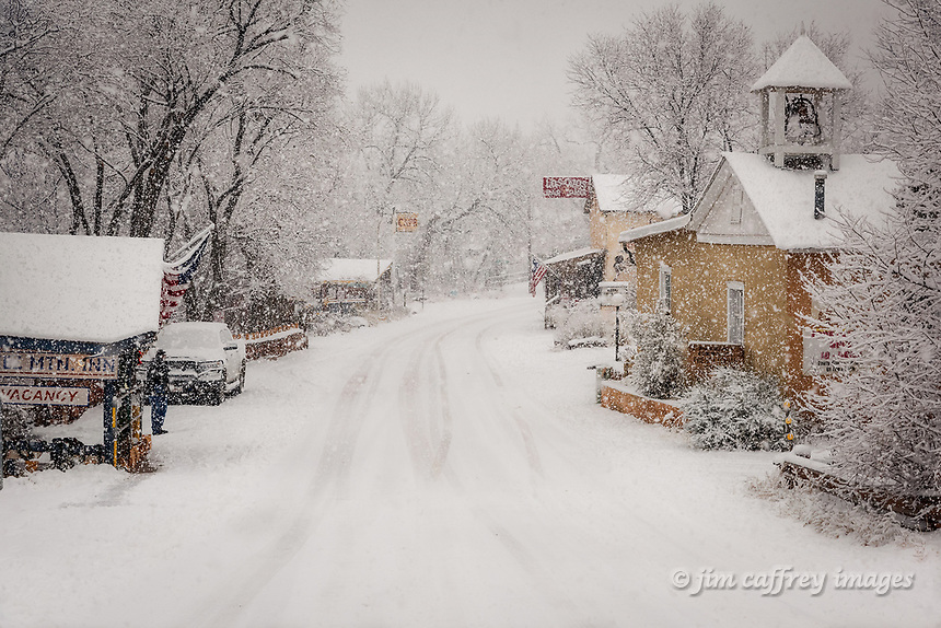 The village of Jemez Springs, New Mexico during a winter snowfall