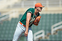 Greensboro Grasshoppers starting pitcher Colton Hock (40) looks to his catcher for the sign against the Kannapolis Intimidators at Kannapolis Intimidators Stadium on August 5, 2018 in Kannapolis, North Carolina. The Intimidators defeated the Grasshoppers 9-0 in game two of a double-header.  (Brian Westerholt/Four Seam Images)