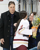 Bob Trivigno, Dana Trivigno (BC - 8), Nancy Trivigno - The Boston College Eagles defeated the visiting Providence College Friars 7-1 on Friday, February 19, 2016, at Kelley Rink in Conte Forum in Boston, Massachusetts.