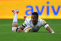 Anthony Watson scores the opening try of the match. Aviva Premiership match, between Sale Sharks and Bath Rugby on September 6, 2014 at the AJ Bell Stadium in Manchester, England. Photo by: Patrick Khachfe / Onside Images