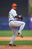 Detroit Tigers pitcher Blaine Hardy (65) delivers a pitch during a Spring Training game against the New York Yankees on March 2, 2016 at George M. Steinbrenner Field in Tampa, Florida.  New York defeated Detroit 10-9.  (Mike Janes/Four Seam Images)