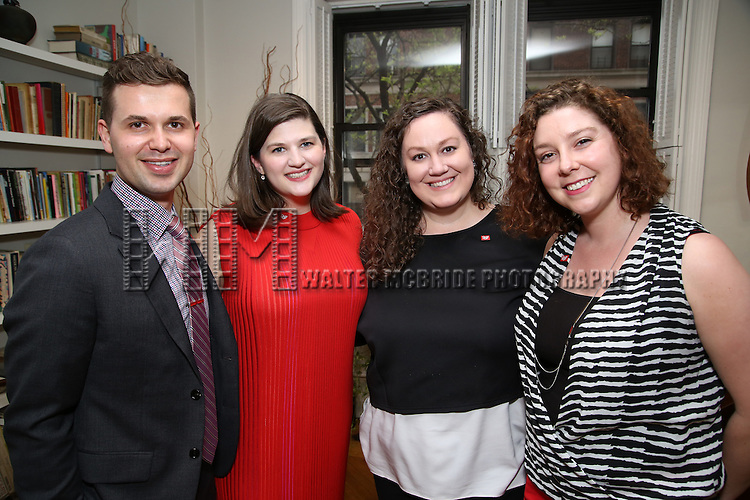 Seth Cotterman, Rachel Routh, Jamie Balsai and Tessa Raden during the DGF Salon with Lisa Kron at the home of Gretchen Cryer on May 2, 2016 in New York City.
