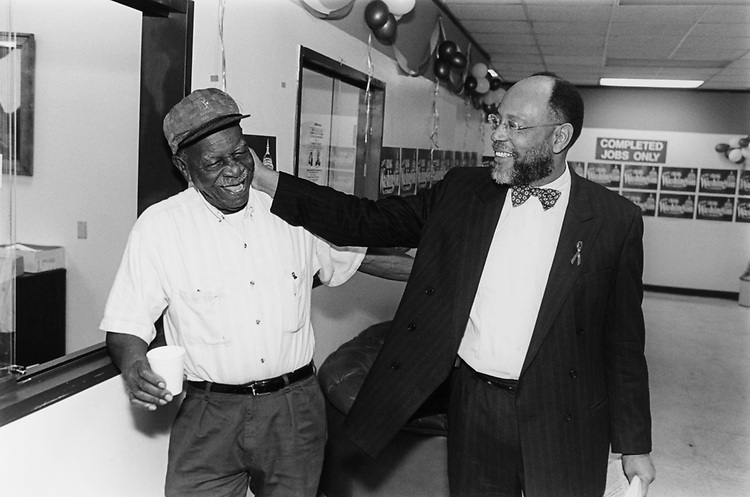 Rep. Craig Washington, D-Tex., with his father Roy Washington at Campaign Headquarters on Feb. 20, 1994. (Photo by Chris Martin/CQ Roll Call)