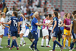 09.06.2019 England v Scotland Women: Shelley Kerr with her players at full time