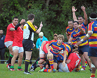 Players appeal to referee Richard Gordon during the Wellington Club Rugby Swindale Shield match between Tawa and Marist St Pats at Lyndhurst Park, Tawa, Wellington, New Zealand on Saturday, 1 June 2013. Photo: Dave Lintott / lintottphoto.co.nz