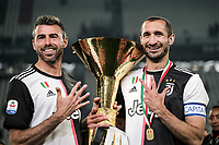 Andrea Barzagli of Juventus and Giorgio Chiellini of Juventus celebrate with the trophy the victory of italian championship <br /> Torino 19-05-2018 Allianz Stadium Football Serie A 2018/2019 Juventus - Atalanta  <br /> photo One Nine / Insidefoto