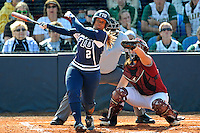 11 February 2012:  FIU's Ashley McClain (2) hits as the University of Massachusetts Minutewomen defeated the FIU Golden Panthers, 3-1, as part of the COMBAT Classic Tournament at the FIU Softball Complex in Miami, Florida.