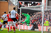 Nottingham Forest's goalkeeper Costel Pantilimon (1) pushes the ball away during the Sky Bet Championship match between Nottingham Forest and Derby County at the City Ground, Nottingham, England on 10 March 2018. Photo by Stephen Buckley / PRiME Media Images.