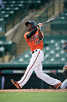 Baltimore Orioles Jaylen Ferguson (48) at bat during an Instructional League game against the Tampa Bay Rays on October 2, 2017 at Ed Smith Stadium in Sarasota, Florida.  (Mike Janes/Four Seam Images)