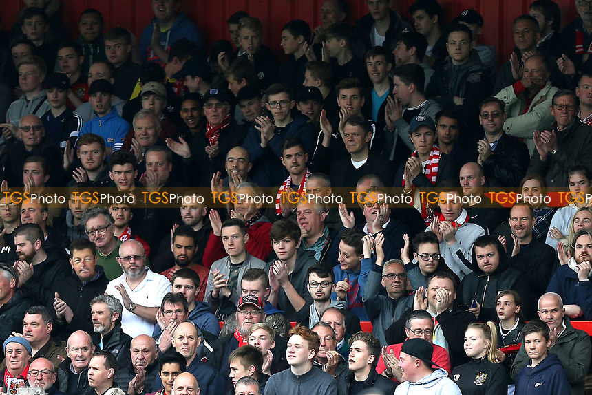 Stevenage fans cheer on their team during Stevenage vs Accrington Stanley, Sky Bet EFL League 2 Football at the Lamex Stadium on 6th May 2017