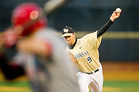Wake Forest Demon Deacons starting pitcher Austin Stadler (9) delivers a pitch to the plate against the North Carolina State Wolfpack at Wake Forest Baseball Park on March 15, 2013 in Winston-Salem, North Carolina.  The Wolfpack defeated the Demon Deacons 12-6.  (Brian Westerholt/Four Seam Images)