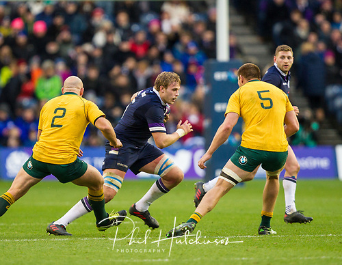 25th November 2017, BT Murrayfield, Edinburgh , Scotland; Autumn International Rugby Series, Scotland versus Australia;  Jonny Gray on the charge for Scotland