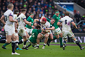 17th March 2018, Twickenham, London, England; NatWest Six Nations rugby, England versus Ireland; James Haskell of England is tackled by Iain Henderson of Ireland