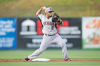 Janluis Castro (2) of the Hickory Crawdads makes a throw to first base against the Kannapolis Intimidators at CMC-Northeast Stadium on May 19, 2014 in Kannapolis, North Carolina.  The Crawdads defeated the Intimidators 10-6.  (Brian Westerholt/Four Seam Images)