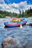 Boat on the Talachulitna River, Alaska.
