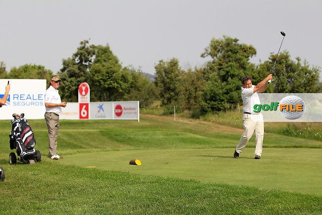Playing with Miguel Angel Jimenez (ESP) on the 6th tee during the Pro-Am of the Open de Espana  in Club de Golf el Prat, Barcelona on Wednesday 13th May 2015.<br /> Picture:  Thos Caffrey / www.golffile.ie