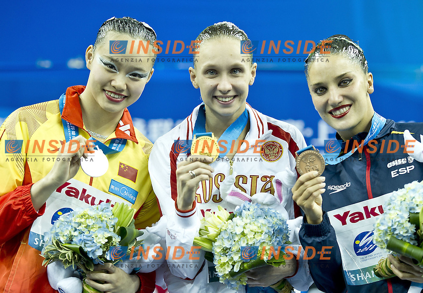Shanghai ,  (CHN) 16-31 July 2001.XIV FINA Swimming World Championships.day 02.Solo Tech.Final.ISHCHENKO Natalia  gold medal.HUANG Xuechen     silver medal.FUENTES Andrea     bronze medal..Photo Insidefoto / Giorgio Scala