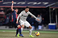 Arturo Calabresi of Bologna and Cristiano Ronaldo of Juventus compete for the ball during the Italy Cup 2018/2019 football match between Bologna and Juventus at stadio Renato Dall'Ara, Bologna, January 12, 2019 <br />  Foto Andrea Staccioli / Insidefoto