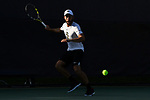 WINSTON SALEM, NC - MAY 22: Petros Chrysochos of the Wake Forest Demon Deacons hits a forehand against the Ohio State Buckeyes during the Division I Men's Tennis Championship held at the Wake Forest Tennis Center on the Wake Forest University campus on May 22, 2018 in Winston Salem, North Carolina. (Photo by Jamie Schwaberow/NCAA Photos via Getty Images)