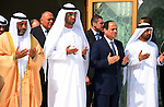 Egypt's President Abdel Fattah al-Sisi prays on the grave of late UAE ruler, Sheikh Zayed bin Sultan Al Nahyan, during his visit to Abu Dhabi, on October 28, 2015. Al-Sisi discussed the state of affairs of the brotherly bilateral ties and joint strategic co-operation in various domains within the context of the two countries' commitment to further solidify them for mutual interests. Photo by Egyptian President Office