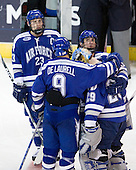 Scott Mathis (Air Force - 23), Kyle De Laurell (Air Force - 9), Jason Torf (Air Force - 29), Brad Sellers (Air Force - 3) - The Yale University Bulldogs defeated the Air Force Academy Falcons 2-1 (OT) in their East Regional Semi-Final matchup on Friday, March 25, 2011, at Webster Bank Arena at Harbor Yard in Bridgeport, Connecticut.