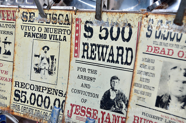 Bounty reward signs from the wild west.