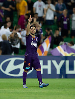 7th February 2020; HBF Park, Perth, Western Australia, Australia; A League Football, Perth Glory versus Wellington Phoenix; Bruno Fornaroli of the Perth Glory celebrates after scoring in extra time to make the score 4-2 to Perth