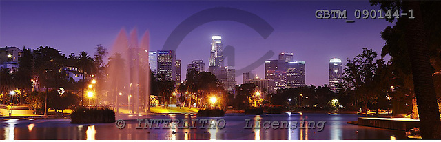 Tom Mackie, LANDSCAPES, panoramic, photos, Los Angeles Skyline from Echo Park Lake, Los Angeles, California, USA, GBTM090144-1,#L#