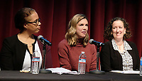WEST HOLLYWOOD, CA - NOVEMBER 28: Kathleen Tarr, Rosette Laursen, Cynthia Bamforth, at Women In Film Speaker Series Presents Sexual & Gender Abuse in the Workplace at The West Hollywood Library in West Hollywood, California on November 28, 2017. Credit: Faye Sadou/MediaPunch /NortePhoto.com NORTEPOTOMEXICO