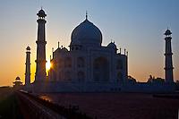 The Taj Mahal mausoleum western view (viewed from Taj Mahal Mosque) at dawn, Uttar Pradesh, India