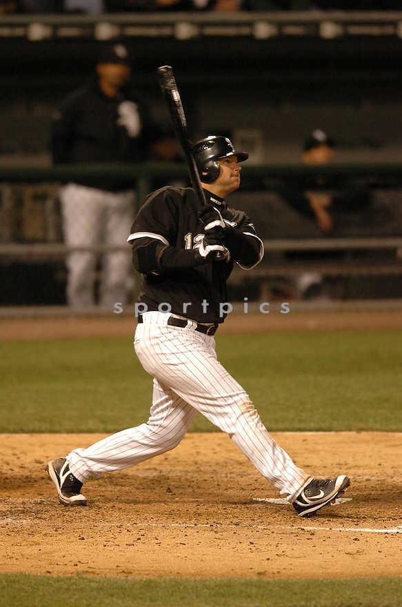 AJ PIERZYNSKI, of the Chicago White Sox, in action during the White Sox game against the Texas Rangers in Chicago, Illinois on April 19, 2007...WHITE SOX  win 6-4...CHRIS BERNACCHI/ SPORTPICS..