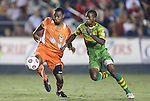 22 September 2012: Carolina's Nick Millington (GUY) (left) and Tampa Bay's Fafa Picault (right). The Carolina RailHawks played the Tampa Bay Rowdies to a 0-0 tie at WakeMed Soccer Stadium in Cary, NC in a 2012 North American Soccer League (NASL) regular season game.