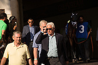 HALLANDALE BEACH, FL - FEBRUARY 04: Trainer Nick Zito enters the walking ring. Scenes from Gulfstream Park,  at Gulfstream Park, Hallandale Beach, FL. (Photo by Arron Haggart/Eclipse Sportswire/Getty Images)