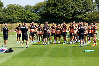 #Pm#(C) speaks to his players during the Swansea City Training Session at The Fairwood Training Ground, Wales, UK. Tuesday 03 July 2018