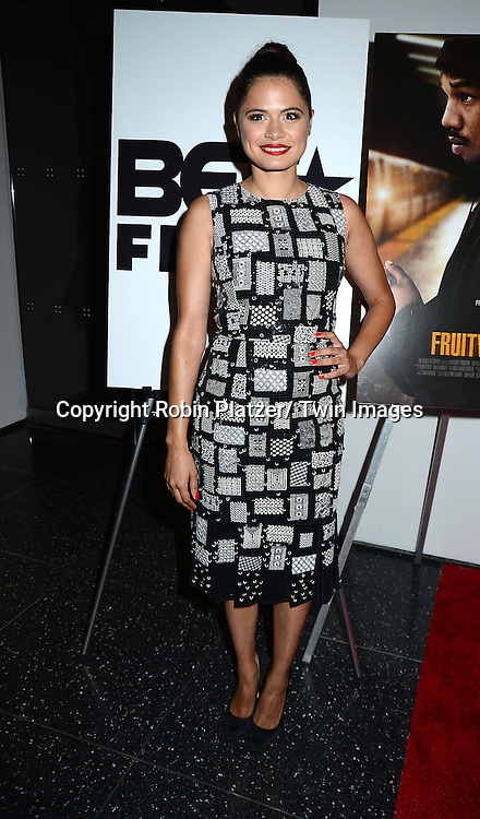 "Melonie Diaz in Oscar de la Renta black and white dress attends the Special Screening of ""Fruitvale Station"" on July 8, 2013 at MOMA in New York City. The movie stars Michael B Jordan, Octavia Spencer and Melonie Diaz and was directed by Ryan Coogler"