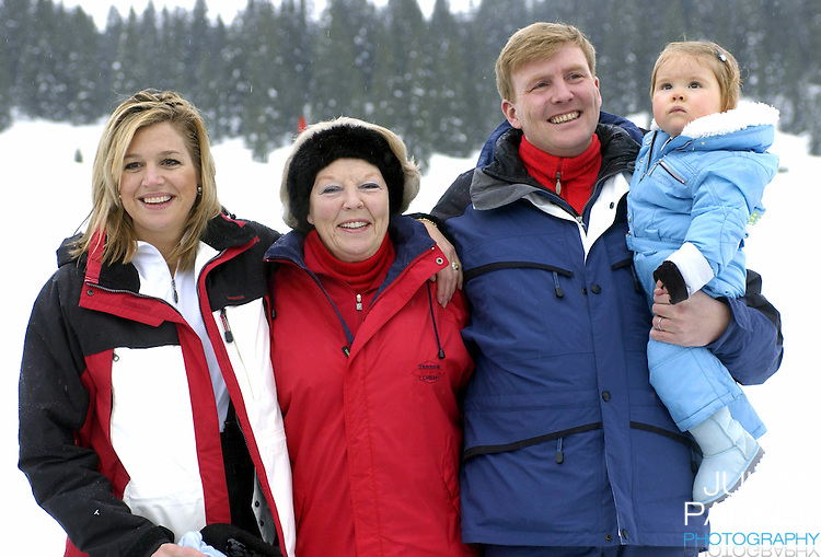 Queen Beatrix of Holland, Crown Prince Willem-Alexander, Crown Princess Maxima & daughter Princess Catharina-Amalia attend a photocall in the snow in Lech, Austria..