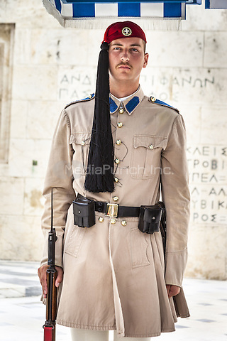 Greek soldier, an Evzone, on sentry duty outside the Parliament building, Athens, Greece <br /> CAP/MEL<br /> &copy;MEL/Capital Pictures /MediaPunch ***NORTH AND SOUTH AMERICA ONLY***