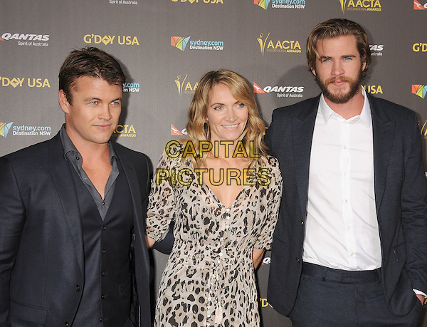 LOS ANGELES, CA - JANUARY 31: (L-R) Actor Luke Hemsworth, Samantha Hemsworth and actor Liam Hemsworth attend the 2015 G'Day USA Gala featuring the AACTA International Awards presented by Qantas at Hollywood Palladium on January 31, 2015 in Los Angeles, California.<br /> CAP/ROT/TM<br /> &copy;TM/ROT/Capital Pictures