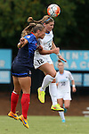 23 August 2015: North Carolina's Jessie Scarpa (12) and Fresno State's Fanny Johansson (SWE) (left). The University of North Carolina Tar Heels played the Fresno State Bulldogs at Fetzer Field in Chapel Hill, NC in a 2015 NCAA Division I Women's Soccer game. UNC won the game 7-0.