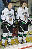 Jonathan Toews, Taylor Chorney - The University of Minnesota Golden Gophers defeated the University of North Dakota Fighting Sioux 4-3 on Friday, December 9, 2005, at Ralph Engelstad Arena in Grand Forks, North Dakota.