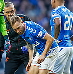 01.02.2020 Rangers v Aberdeen: Scott Arfield spitting blood after a clash