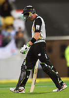NZ's Martin Guptill walks off after being dismissed for 10 during 2nd Twenty20 cricket match match between New Zealand Black Caps and West Indies at Westpac Stadium, Wellington, New Zealand on Friday, 27 February 2009. Photo: Dave Lintott / lintottphoto.co.nz