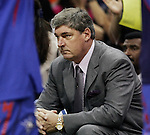 Detroit head coach Bill Laimbeer watches play during Game 2 of the WNBA Finals between the Detroit Shock and the San Antonio Silver Stars, Oct. 3, 2008, at the AT&T Center in San Antonio. Detroit won 69 - 61 to go up 2 - 0 in the best-of-five series. (Darren Abate/pressphotointl.com)