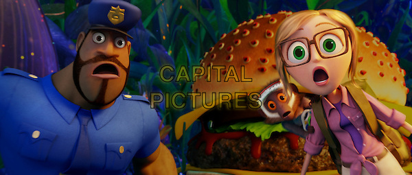 Earl (Terry Crews), Steve (Neil Patrick Harris) &amp; Sam (Anna Faris) with Cheespider looking on <br /> in Cloudy with a Chance of Meatballs 2 (2013) <br /> *Filmstill - Editorial Use Only*<br /> CAP/FB<br /> Image supplied by Capital Pictures