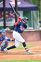 Elizabethton Twins second baseman Yunior Severino (22) swings at a pitch during a game against the Kingsport Mets at Joe O'Brien Field on August 7, 2018 in Elizabethton, Tennessee. The Twins defeated the Mets 16-10. (Tony Farlow/Four Seam Images)