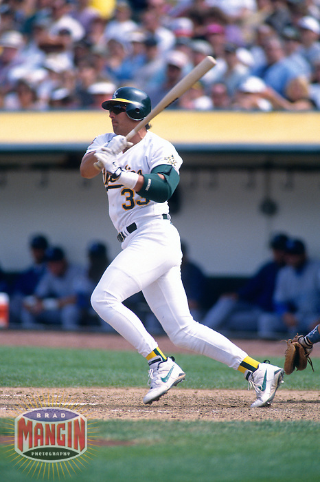 OAKLAND, CA - Jose Canseco of the Oakland Athletics bats during a game at the Oakland Coliseum in Oakland, California in 1997.  Photo by Brad Mangin